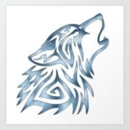 Tribal wolf howl brushed steel prints