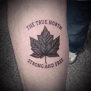 True north canadian leaf tattoo