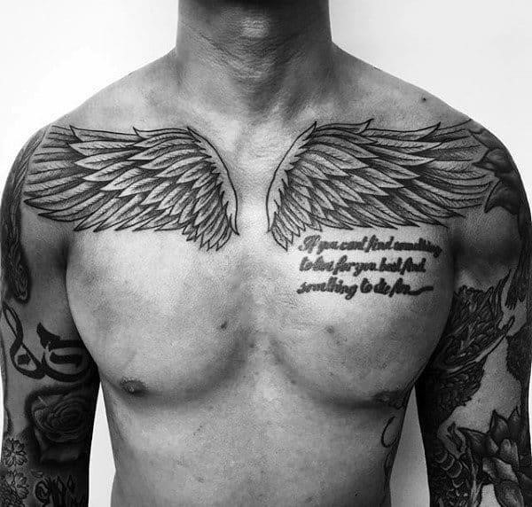 Two wings male chest tattoos