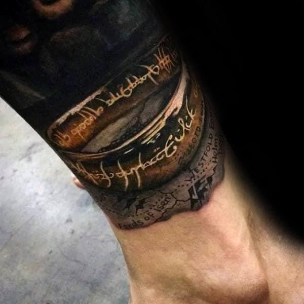 Ultra realistic lord of the rings 3d mens lower leg tattoos