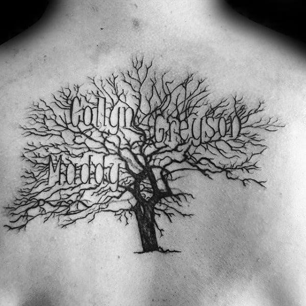 Upper back guys tree branches family names tattoo