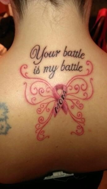 Upperback butterfly and cancer tattoo