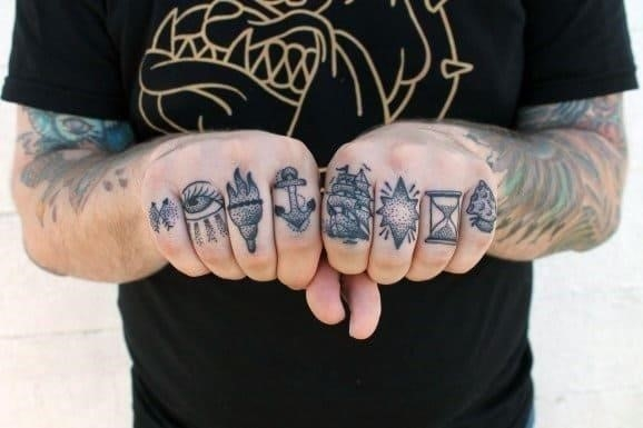 Various knuckle tattoo symbols for guys
