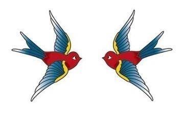 Vintage birds temporary tattoo n