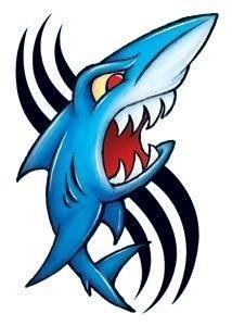 Vintage shark temporary tattoo