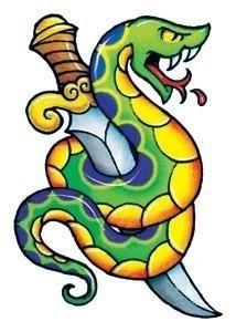 Vintage snake dagger temporary tattoo