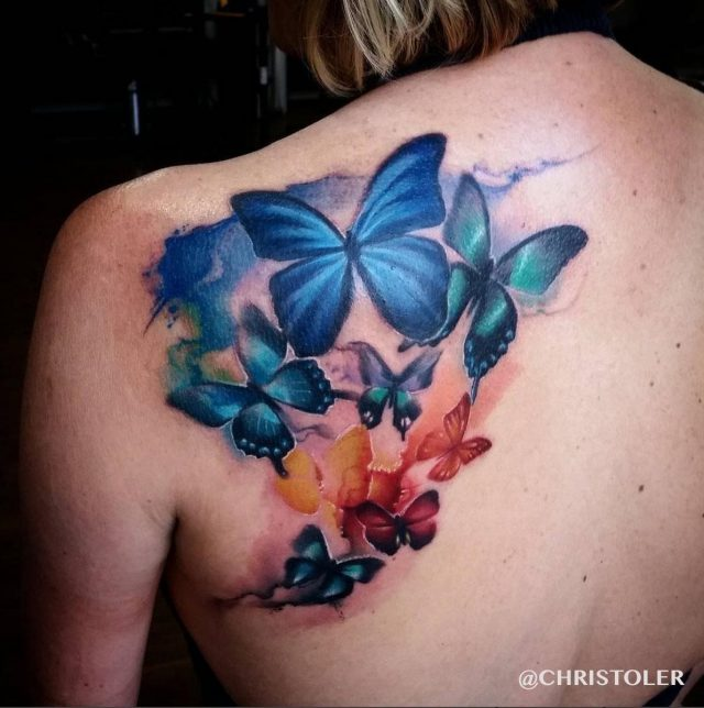 Watercolor butterfly tattoo 25