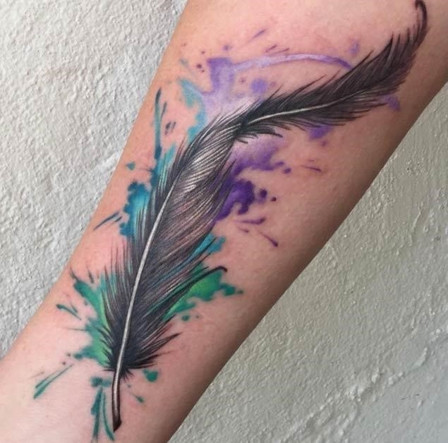 Watercolor feather tattoo 1