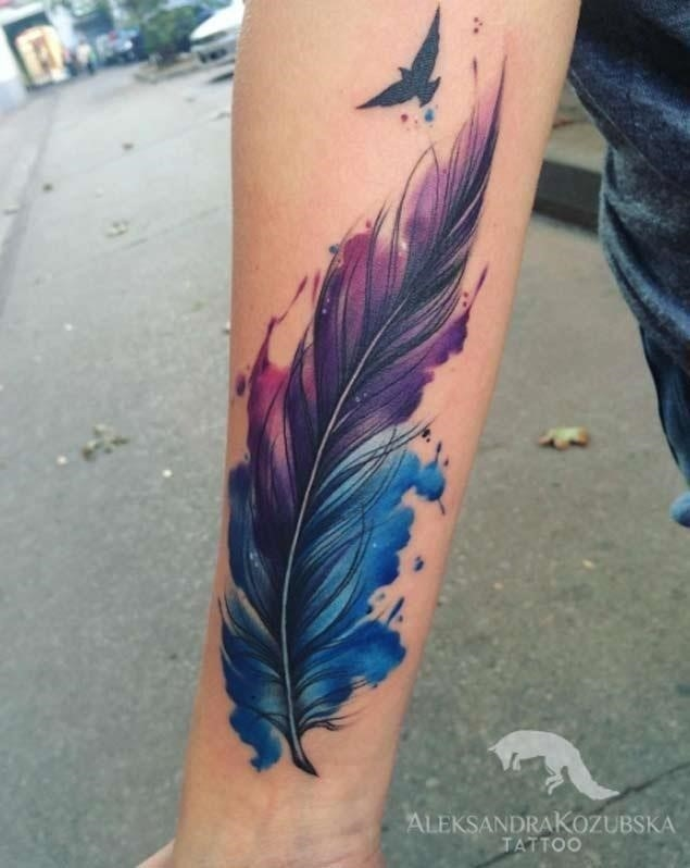 Watercolor feather tattoo 2
