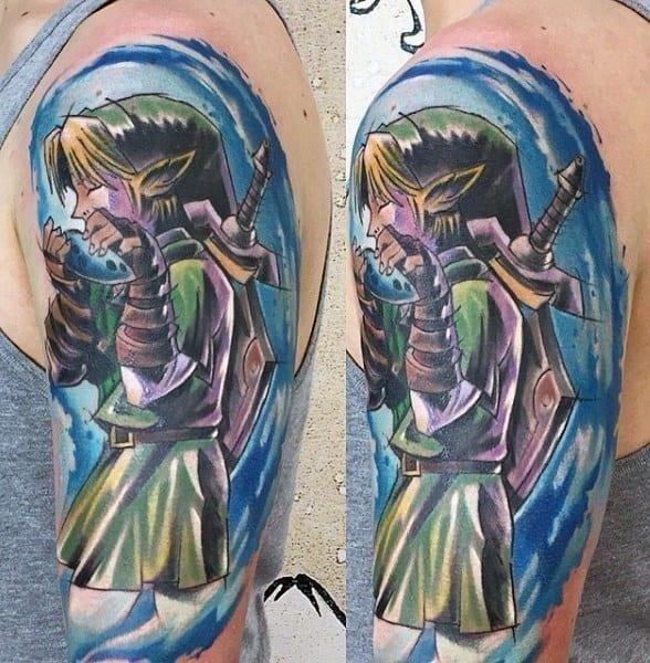 Watercolor guys zelda arm tattoos