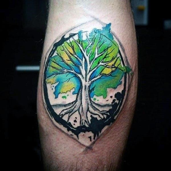 Watercolor inner forearm male tree of life tattoo designs