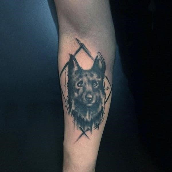Watercolor lines manly guys dog tattoo design ideas