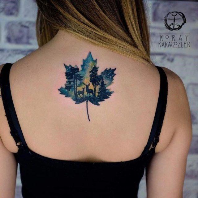 Watercolor tattoo • t r u e • n o r t h • maple leaf north canada watercolortattoo wa