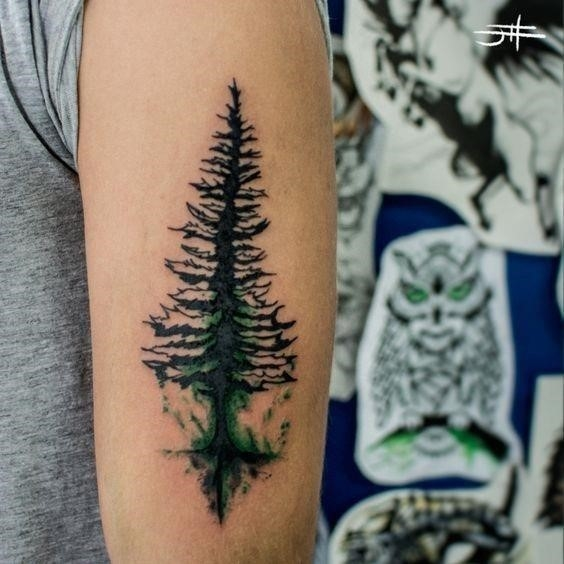 Watercolor tree triceps tattoo