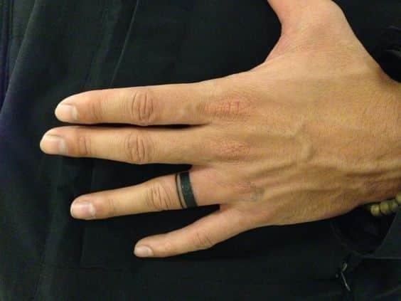 Wedding band finger tattoo for men