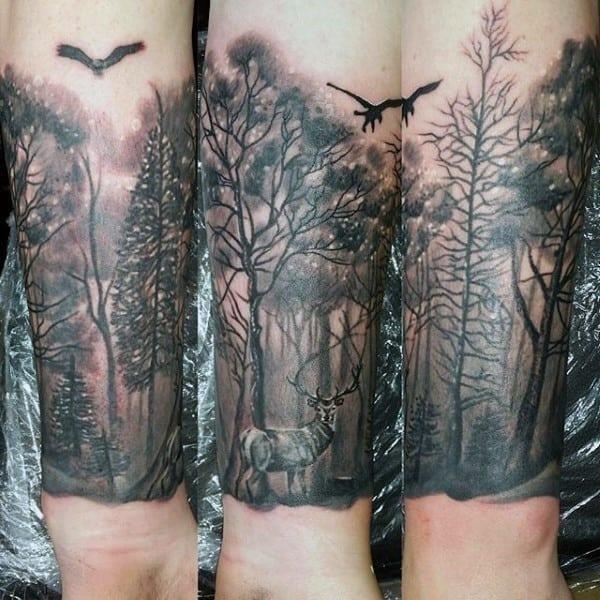 Wilderness male forest wrist tattoos