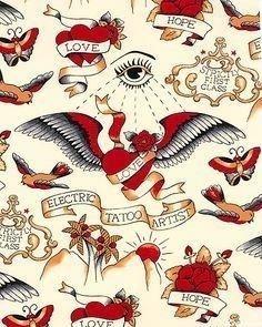 Winged hearts vintage tattoos designs