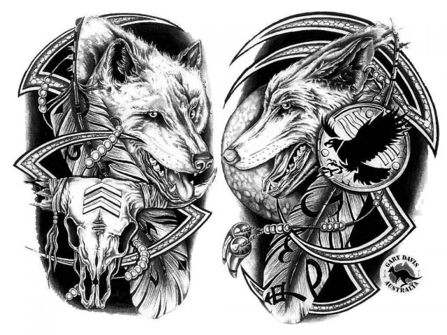 Wolf heads native american tattoo design