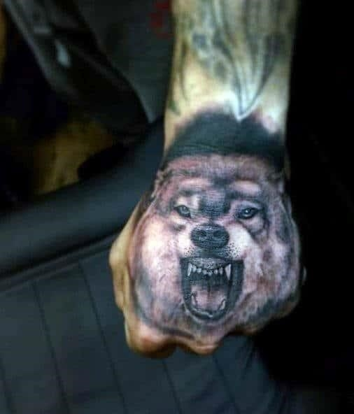 Wolf silhouette tattoo men