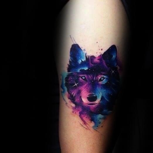 Wolf watercolor guys tattoo ideas on forearm