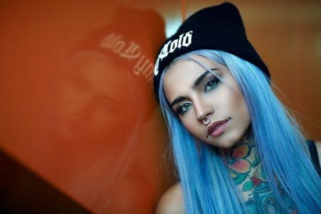 Women blue hair tattoo nose rings wallpaper preview