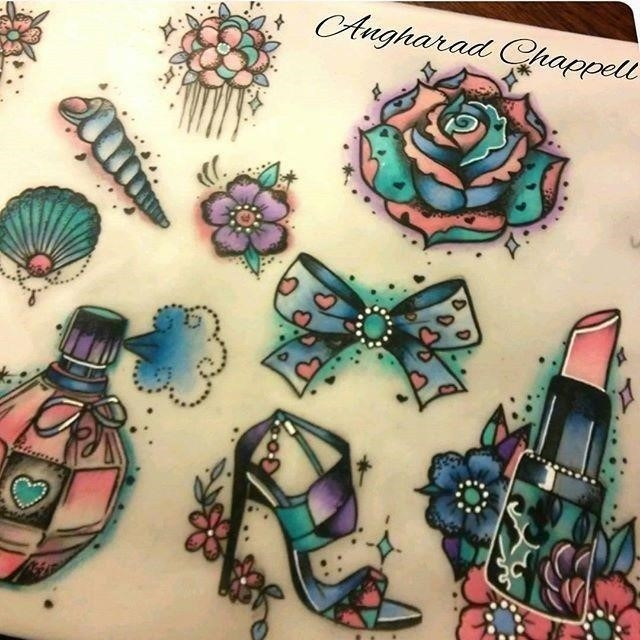 Women tattoo angharadartist angharadartist girly flash sheet instagram photo websta