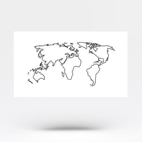 World map temporary tattoo white large