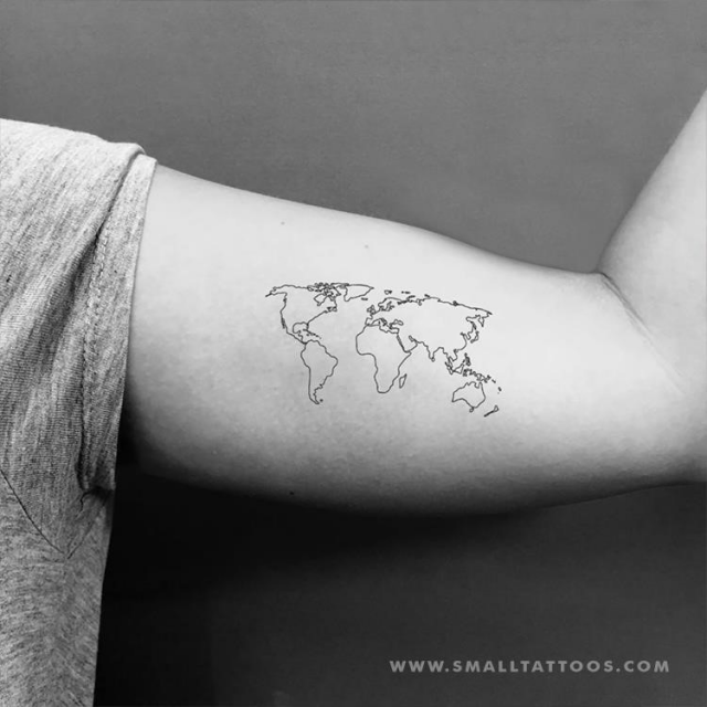 World map temporary tattoo 1024×1024