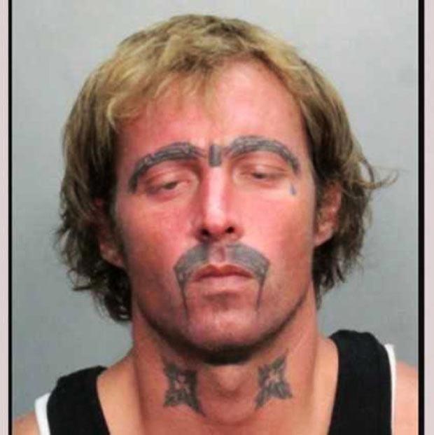 Worst bad tattoos mug shot mustache eyebrows