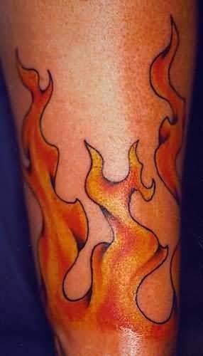 Wrist flames tattoo