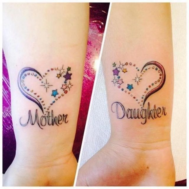 Wrist tattoos mother daughter tattoo ideas colourful hearts stars