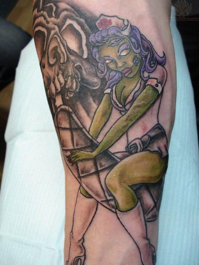 Zombie nurse color ink tattoo